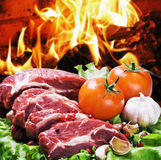 Pieces of steak and vegetables for grilling Royalty Free Stock Images