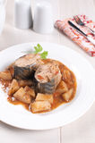 Pieces of stewed mackerel with vegetable stew Stock Photography