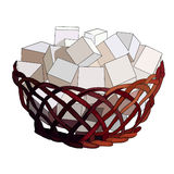 Pieces of sugar in wooden cane sugar bowl. Decor for the kitchen. Sweets for tea. Sweet coffee. Straw vase. Cubes of sugar. Vector Stock Photos