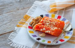 Pieces of sweet baked pumpkin with nuts. The Turkish dish is Kab Stock Photo