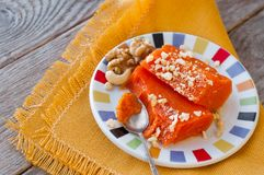 Pieces of sweet baked pumpkin with nuts. The Turkish dish is Kab Royalty Free Stock Photo