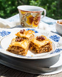 Pieces of sweet baklava, garden background, selective focus Stock Photo