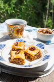 Pieces of sweet baklava, garden background, selective focus Royalty Free Stock Photography