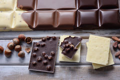Pieces of tile chocolates Stock Images