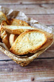 Pieces of  toasted bread in a basket Royalty Free Stock Photography