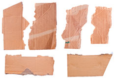 Pieces of torn brown corrugated cardboard Royalty Free Stock Photo