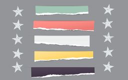 Pieces of torn colorful blank note, notebook paper strips for text with white stars. Stock Photography