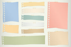 Pieces of torn colorful blank note paper with Stock Photos