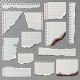 Pieces of torn white lined notebook paper square line rag white and burned page vector illustration. Royalty Free Stock Images