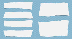 Pieces of torn white note paper with copy space sticked on squared blue pattern Stock Photography