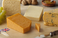 Pieces of traditional english cheese Royalty Free Stock Image