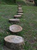 Wooden path in an african ecolodge stock photos