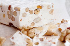 Turkish delight. Pieces of turkish delight nougat on desk royalty free stock image