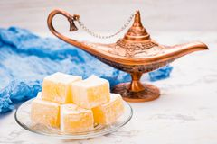 Pieces of Turkish Delight. On a plate royalty free stock photos