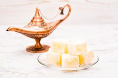 Pieces of Turkish Delight. On a plate stock photography