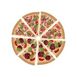 Pieces of two kinds of pizza are folded in a whole circle. Vector illustration on white background. Pieces of pizza with bacon, mushrooms, salami, tomatoes royalty free illustration