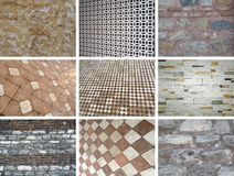 Wall collage. 9 pieces of wall and floor photo Royalty Free Stock Photography