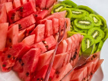 Pieces of watermelon/kiwi Stock Photos