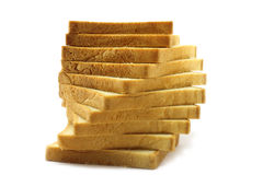 Pieces of white bread. On the white background Stock Images