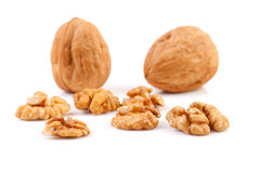 Pieces and whole walnut Stock Images