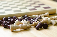 Pieces of wood chess and  board game Stock Photos