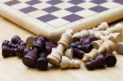 Pieces of wood chess and  board game Royalty Free Stock Photography
