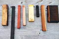 Pieces of wood in a row Stock Image