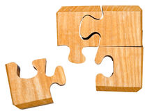 Pieces of wooden mechanical puzzle Stock Photos
