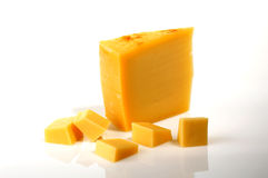 Pieces of yellow cheese Royalty Free Stock Images