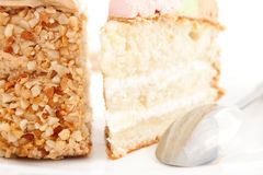 Pieces of yummy cake with  nuts Royalty Free Stock Photo