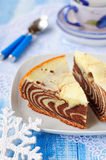 Pieces of Zebra Cake Stock Images