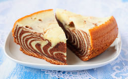 Pieces of Zebra Cake Royalty Free Stock Photography