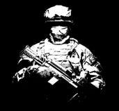 Piechota z maszynowego pistoletu pozycją w ciemności zdjęcie stock