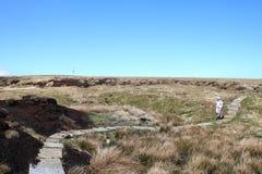 Piechur na moorland sekci wybrzeże Sunąć spacer zdjęcia royalty free