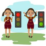 piechur No chodzi sygnałowego wyjaśnienia dziewczyną Ilustracji