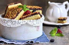 Piecies of cake with berry jam. Royalty Free Stock Photography