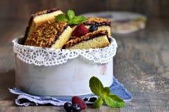 Piecies of cake with berry jam. Stock Photo
