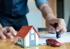 Pieczątka dla domu i samochodowego zakupu zatwierdzenia zdjęcia royalty free