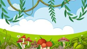 Pieczarka i winograd w natura krajobrazie royalty ilustracja