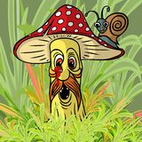 Pieczarka w lesie ilustracji