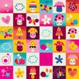 Pieczarki, kwiaty, motyle, serca, ślimaczek natury wzór ilustracji