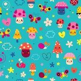 Pieczarki, kwiaty, motyle, serca, ślimaczka bezszwowy wzór ilustracji