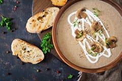 Pieczarkowa kremowa polewka Weganinu jedzenie żywienioniowy menu Odgórny widok obraz stock
