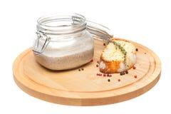 Pieczarkowa polewka z grzanką na bielu Zdjęcie Royalty Free