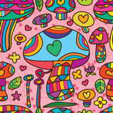 Pieczarkowej miłości śliczny bezszwowy wzór Obrazy Stock