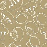 Pieczarkowy biały kontur na szarym tle Wektorowa monochromatyczna ilustracja szampiniony royalty ilustracja