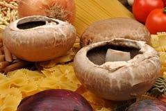 pieczarkowy organicznie makaron Fotografia Royalty Free