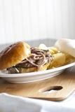 Pieczarkowy Szwajcarski hamburger Zdjęcie Royalty Free