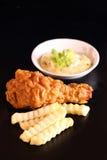 Pieczonego kurczaka i francuza dłoniaki zdjęcie stock