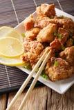 Pieczonego kurczaka karaage z cytryny zakończeniem vertical, japończyk Fotografia Royalty Free